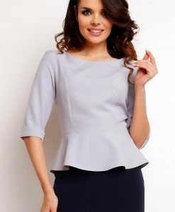 Grey peplum blouse with elbow length sleeves - Blouses -