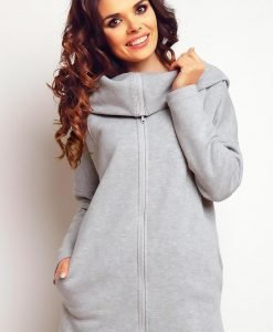 Grey turtle neck sweater withfront zipper - Sweaters -
