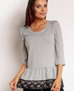 Grey&black Petite Ruffling Hem Fabby Blouse - Blouses -