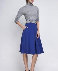 Indigo Pleated Midi Skirt with Back Zipper - Skirts -