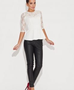 Lace Top Frill Waist Ecru Top with Elbow Sleeves - Blouses > Blouses Short Sleeve -