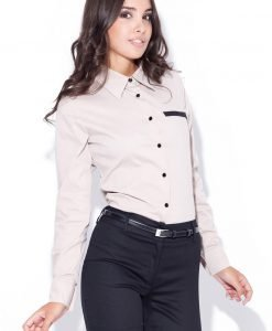 Light Beige Collared Shirt with Layered Skirt - Shirts > Shirts Long Sleeve -