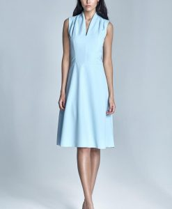 Light blue pleated shoulder seam dress - Dresses -