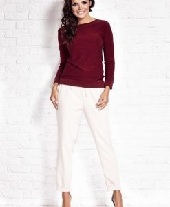 Maroon Relaxed Fit Blouse - Blouses > Blouses Long Sleeve -