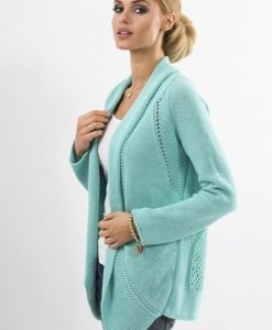 Mint Shawl Collar Ladies Cardigan with Eyelet Knit Pattern - Sweaters -