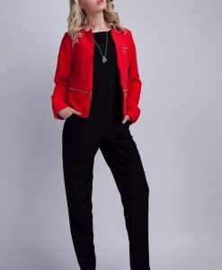 Modern Red Collarless Open Blazer - Outerwear > Blazers -