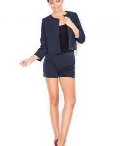 Navy Blue Collarless Blazer with ¾ Sleeves - Outerwear > Blazers -