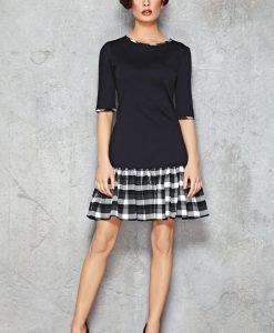 Navy Blue Drop Waist Dress with Checkered Black White Panel - Dresses -
