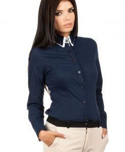 Navy Button Down Collar Executive Shirt - Shirts > Shirts Long Sleeve -