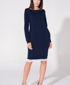 Navy blue tunic dress with contrast lace trim - Dresses -