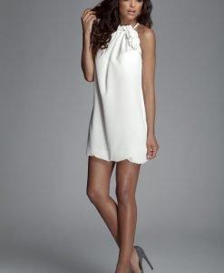 Off White Halter Neck Romantic Rose Dress - Dresses -