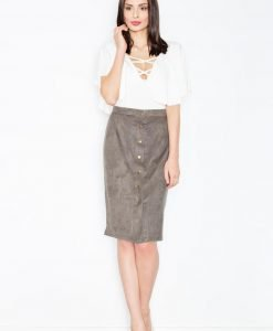 Olive green button down pencil skirt - Skirts -