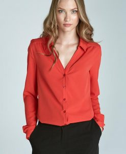 Orange Blouse with Cuffed Long Sleeves - Blouses > Blouses Long Sleeve -