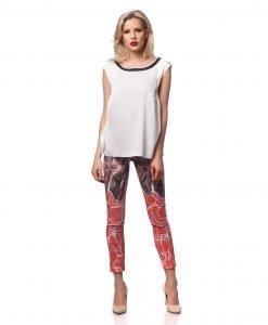 Pantalon casual imprimeu corai 5398-2 - PANTALONI - Pantaloni de zi