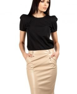 Pencil Leather Beige Skirt with Loops for Belt - Skirts -