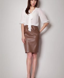 Pencil Leather Brown Skirt with Back Seam zip Fastening - Skirts -