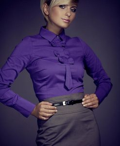 Petite Collared Vintage Bow Neck Navy Blue Shirt - Blouses > Blouses Long Sleeve -