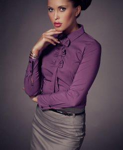 Petite Collared Vintage Bow Neck Purple Shirt - Blouses > Blouses Long Sleeve -