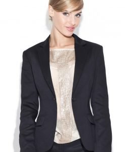 Petite Peak Collar Black Blazer with Single Button Fastening - Outerwear > Blazers -