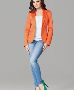 Petite Peak Collar Orange Blazer with Single Button Fastening - Outerwear > Blazers -