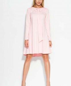 Pink A Line dress with bow neckline - Dresses -