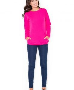 Pink Blouse with Elasticized Hemline - Blouses > Blouses Long Sleeve -