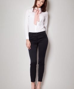 Pink Contrast Pussy Bow Seam Blouse with Cuffed Long Sleeves - Shirts > Shirts Long Sleeve -