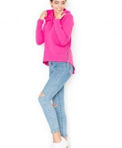 Pink Pull string Hoodie with Cropped Front and Curved Back Hemline - Blouses > Blouses Long Sleeve -