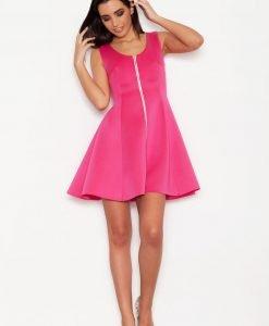 Pink Seam Skater Dress with Contrast Zipper - Dresses -