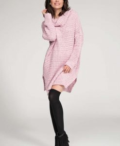 Pink long sweater with slits - Sweaters -