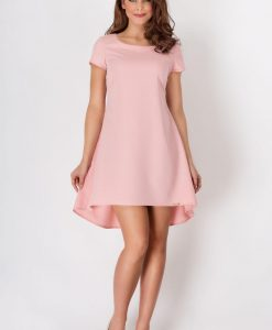 Pinky Flippy Dress with Pleated Back Skirt - Dresses -