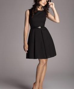 Pleated Belted Sleeveless Black Dress with Seamed Top - Dresses -