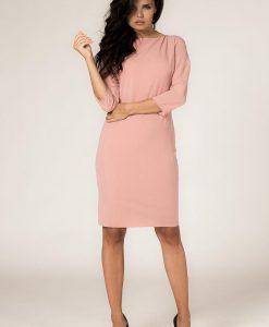 Powder Pink Seam Shift Dress with Back Zip Fastening - Dresses -