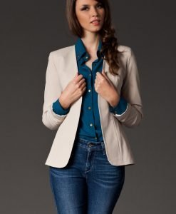 Puffed Shoulder Collarless Seam Beige Blazer - Outerwear > Blazers -