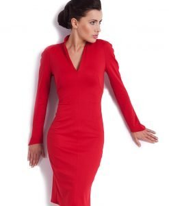 Red Fitted Modern Swan Office Dress - Dresses -