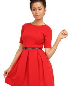 Red Magnanimous Modern Belted Tea-length Dress - Dresses -