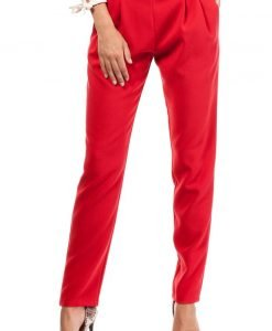 Red Satin Chino Trousers With Pockets - Trousers -