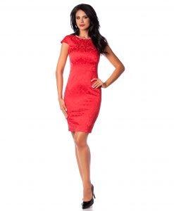 Rochie de ocazie brocard rosu colier 9342-3 - ROCHII DE SEARA SI OCAZIE - OCAZIE
