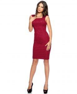 Rochie de ocazie dantela rosie 9282-2 - ROCHII DE SEARA SI OCAZIE - COCKTAIL