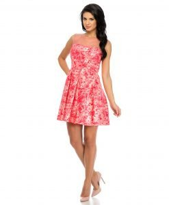 Rochie de ocazie imprimeu floral roz 9335 - ROCHII DE SEARA SI OCAZIE - BAL
