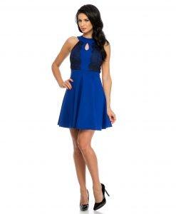 Rochie eleganta albastra dantela aplicata 9328-2 - ROCHII DE ZI - Pentru fiecare zi