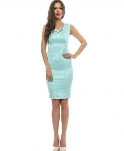Rochie eleganta brocard bleu 9363-1 - ROCHII DE SEARA SI OCAZIE - OCAZIE