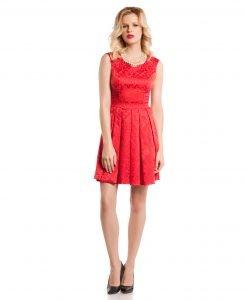 Rochie eleganta brocard rosu 9349-3 - ROCHII DE ZI - Pentru fiecare zi