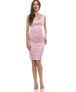 Rochie eleganta brocard roz-pudra 9363-2 - ROCHII DE SEARA SI OCAZIE - OCAZIE