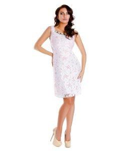 Rochie eleganta dantela alba si colier aplicat 9345 - ROCHII DE SEARA SI OCAZIE - OCAZIE