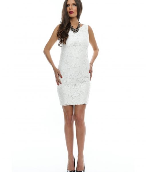Rochie eleganta din dantela alba 9357 – ROCHII DE SEARA SI OCAZIE – COCKTAIL