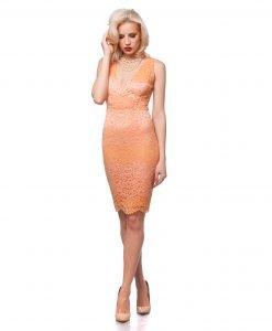 Rochie eleganta din dantela portocalie 9424 - ROCHII DE SEARA SI OCAZIE - OCAZIE