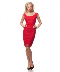 Rochie eleganta din dantela rosie 9437 - ROCHII DE SEARA SI OCAZIE - OCAZIE