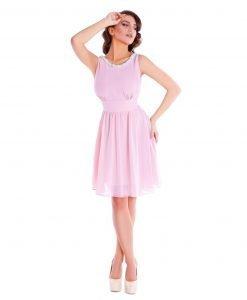 Rochie eleganta din voal roz pudra 9344 - ROCHII DE SEARA SI OCAZIE - OCAZIE