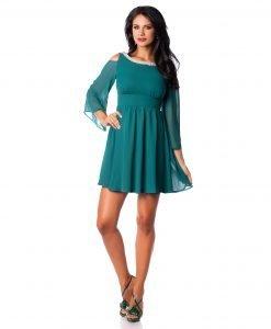 Rochie eleganta din voal verde si colier aplicat 9383-2 - ROCHII DE SEARA SI OCAZIE - OCAZIE